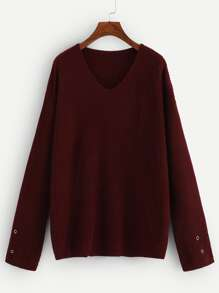 Grommet Detail V Neck Jumper