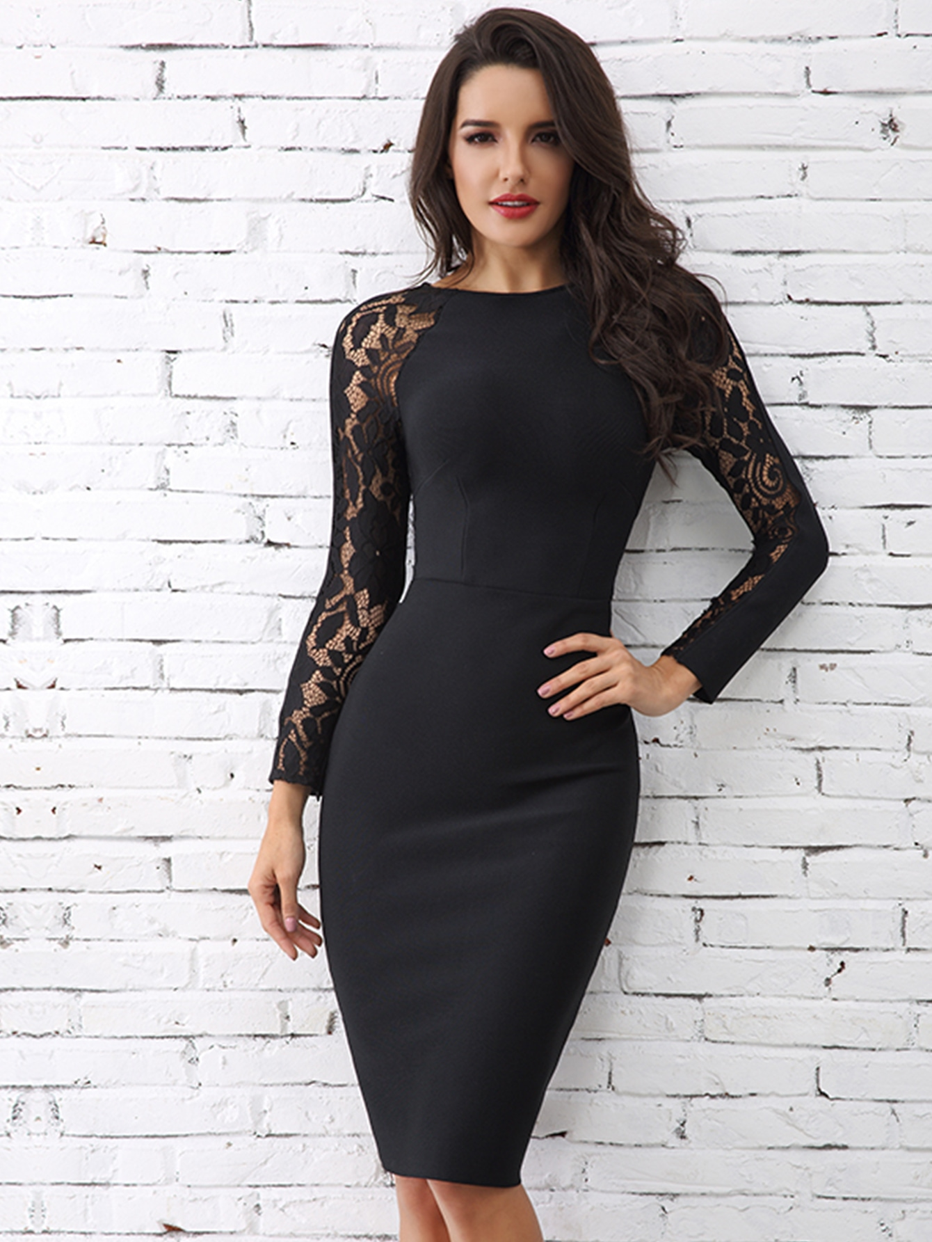 Lace Raglan Sleeve Bodycon Dress thumbnail