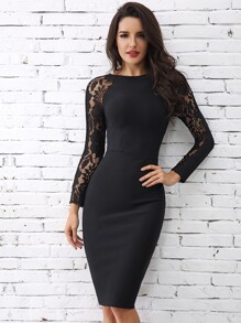 Lace Raglan Sleeve Bodycon Dress