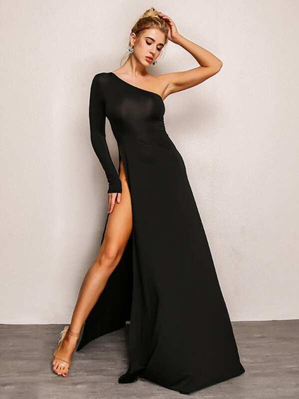 b15bbaa46ebf8 Joyfunear One Shoulder High Split Side Dress   SHEIN