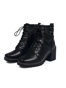 Lace-up Buckle Decor Boots