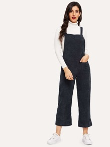 Pocket Detail Wide Leg Corduroy Jumpsuit