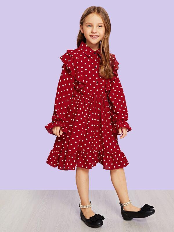 73386d045 فستان للبنات الصغار منقط بنقاط بلوكاء مع الكشكشة | شي إن