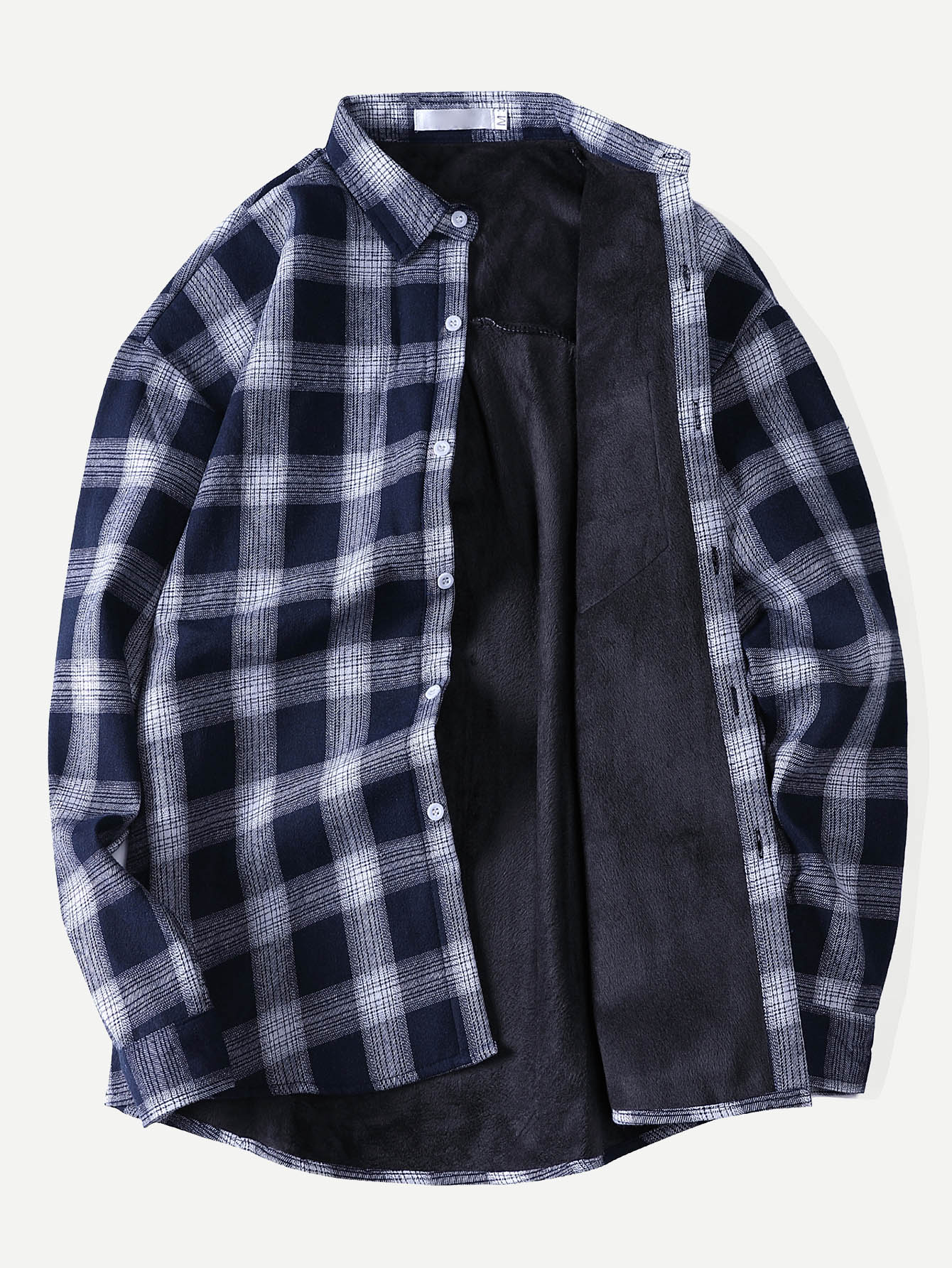 Men Velvet Lined Plaid Shirt Men Velvet Lined Plaid Shirt