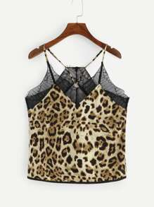 Contrast Lace Cheetah Print Cami Top