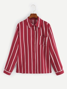 Plus Vertical Striped Blouse