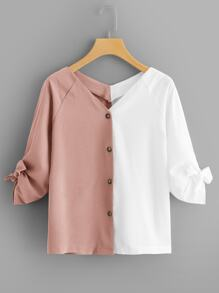Plus Two Tone Tie Cuff Blouse