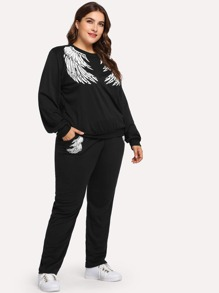 Plus Wings Print Sweatshirt With Sweatpants