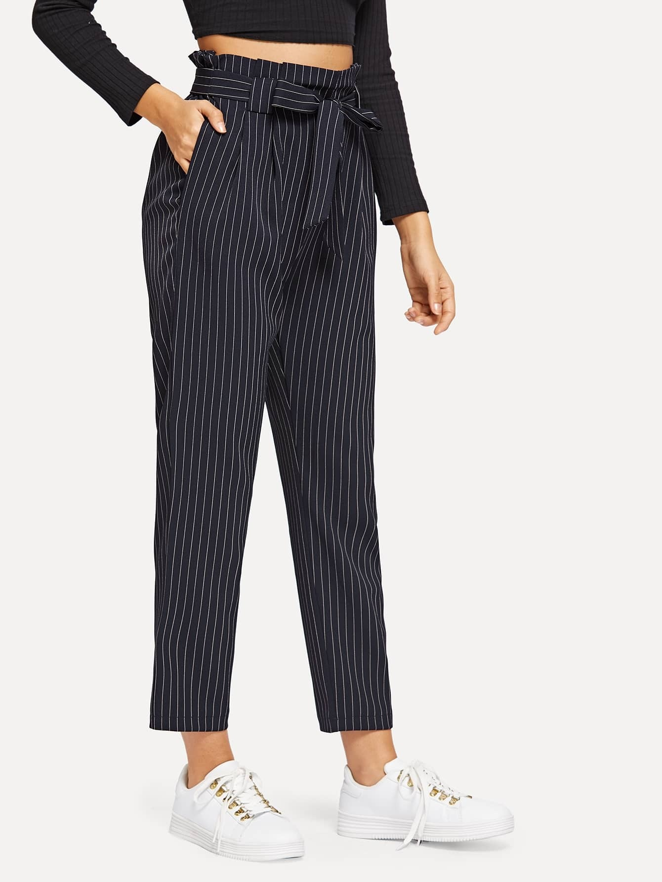 Striped Paperbag Waist Pants Striped Paperbag Waist Pants