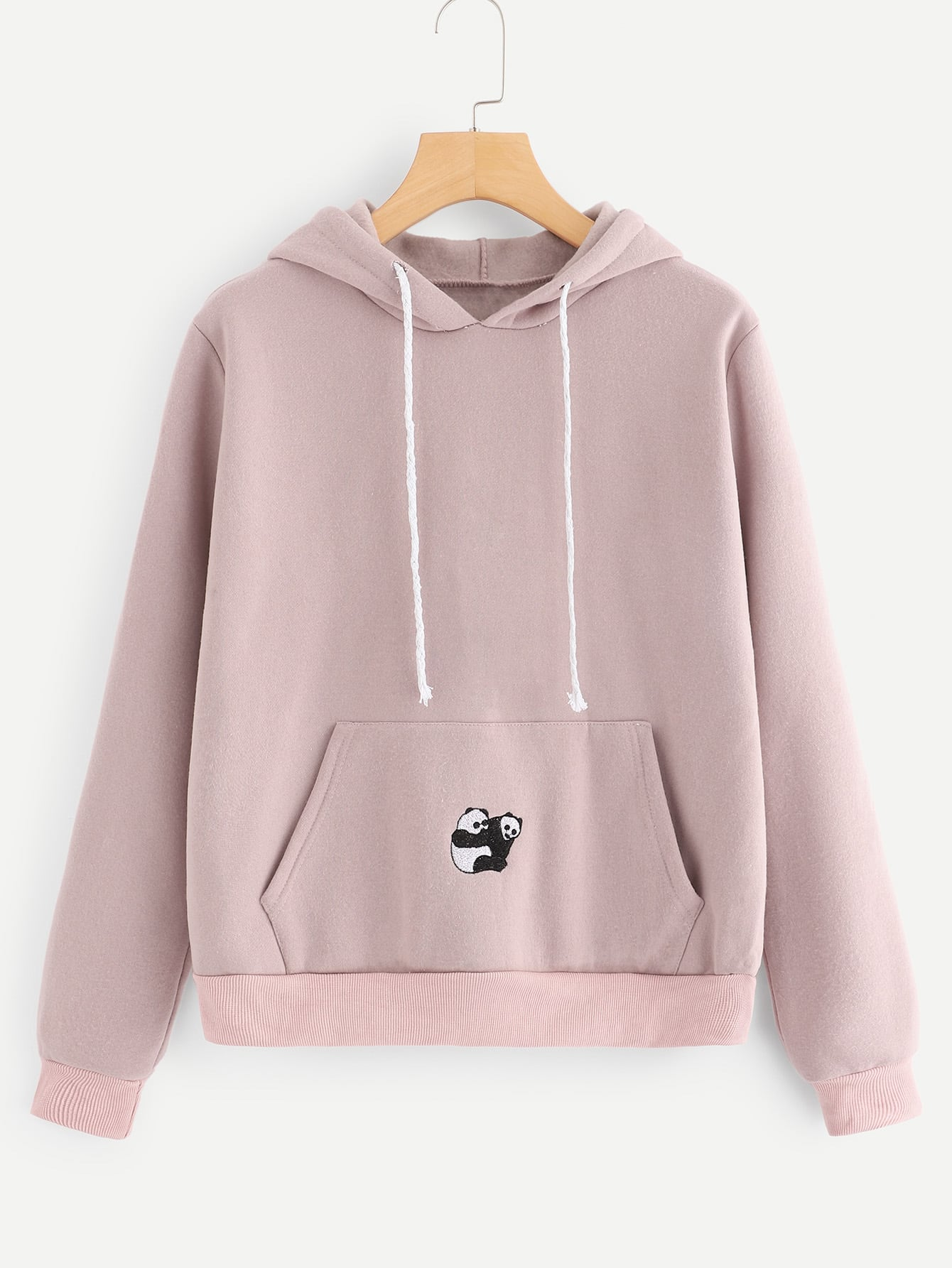 Letter And Panda Embroidery Hoodie Letter And Panda Embroidery Hoodie