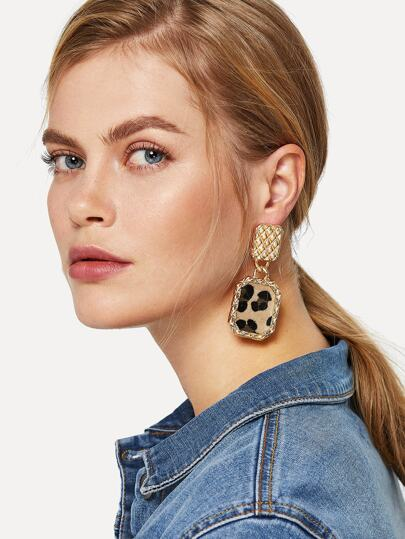 Leopard Pattern Square Drop Earrings 1pair