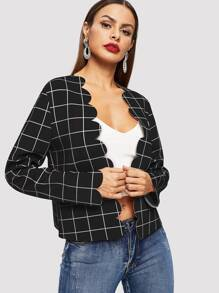 Scallop Trim Grid Blazer