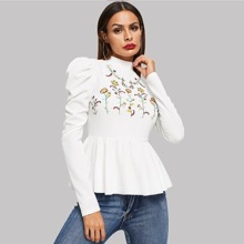 Flower Embroidered Puff Sleeve Peplum Top