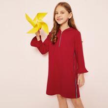 Image of Girls Zip Half Placket Hooded Dress