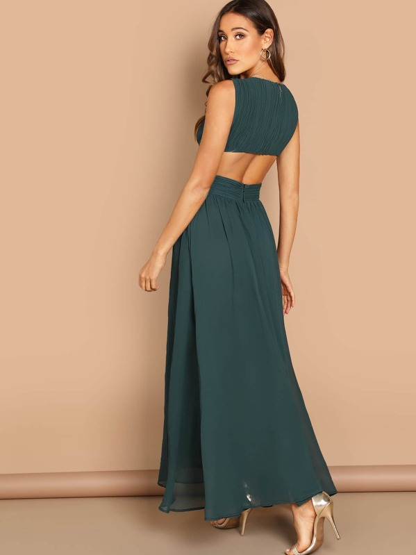 25266f09ae Open Back Ruched Top Flowy Prom Dress | SHEIN UK