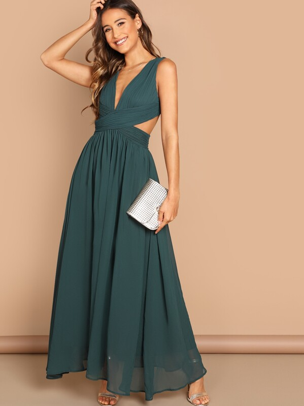 7a10b5290ad86 Open Back Ruched Top Flowy Prom Dress