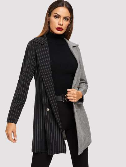 eef281028f7d Notch Collar Colorblock Striped Coat