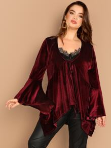 Plus Bell Sleeve Hanky Hem Velvet Coat