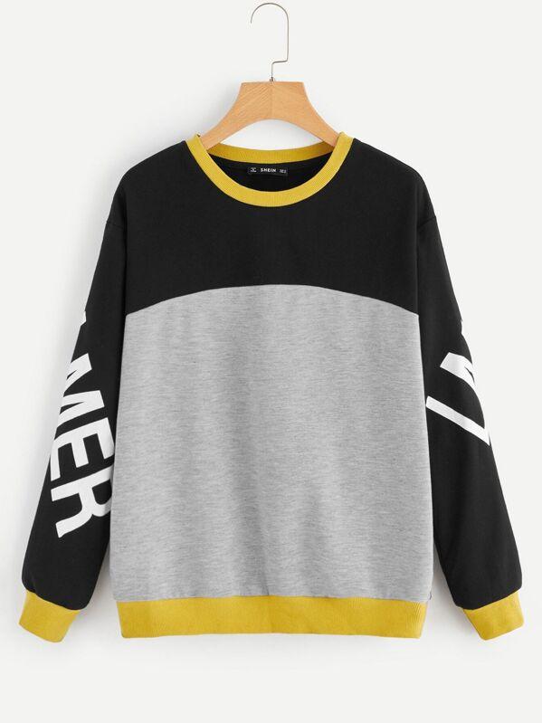 Letter Print Sleeve Color Block Sweatshirt by Shein