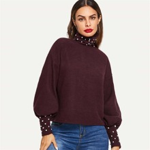 SHEIN | High Neck Lantern Sleeve Pearl Beading Pullover | Goxip
