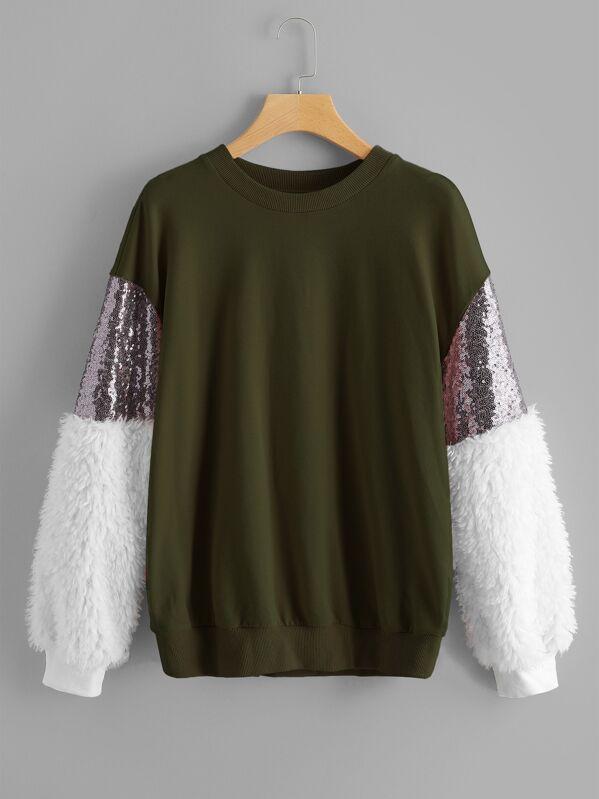 4c11753de2 Contrast Faux Fur Sleeve Sweatshirt   SHEIN