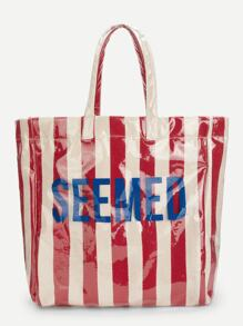 Letter Print Striped Tote Bag