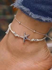 Starfish Detail Layered Anklet Set 2pcs