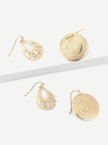 Round & Hollow Out Metal Drop Earrings 2pairs