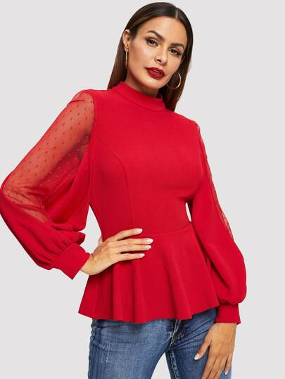 Dobby Mesh Balloon Sleeve Peplum Top