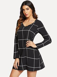 Grid Print V-neck Dress
