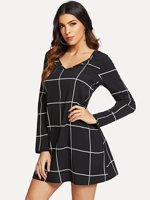 cd3c9f45750 Grid Print V-neck Dress