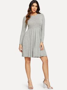 Long Sleeve Pleated Solid Dress