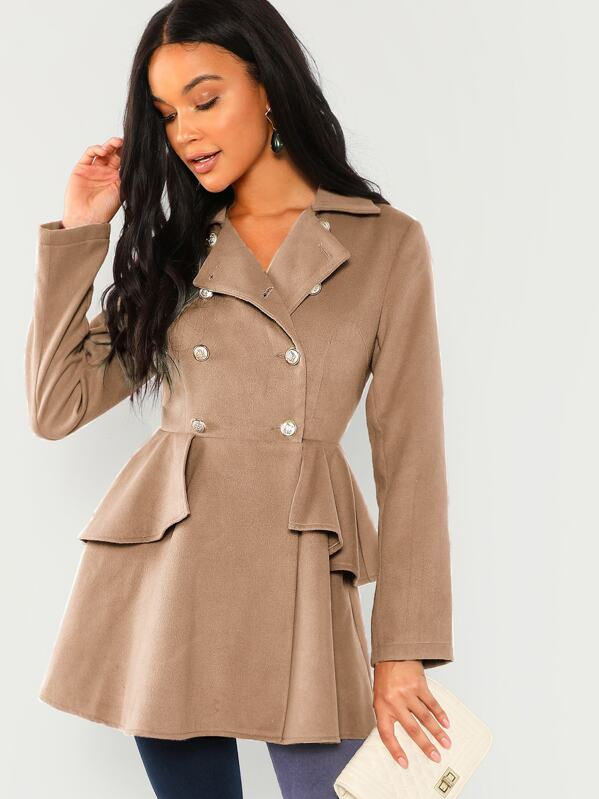 SheinDouble Breasted Ruffle Solid Coat by Sheinside