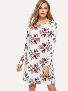 Allover Flower Print Dress
