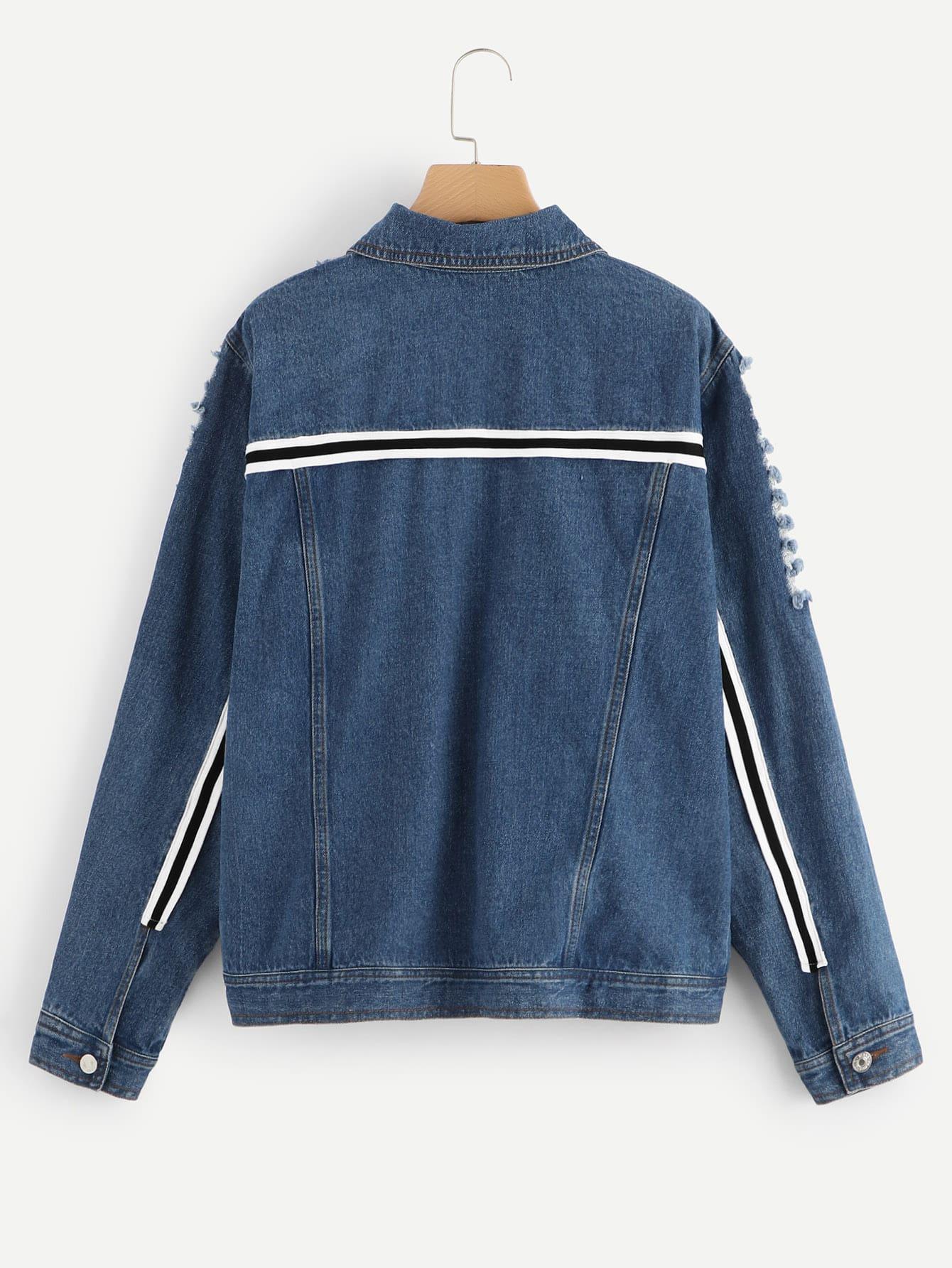 bergro e zerrissene jeans jacke mit streifen und band detail shein. Black Bedroom Furniture Sets. Home Design Ideas