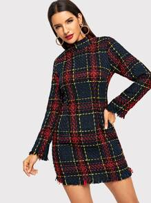 Tweed Fringe Hem Plaid Dress