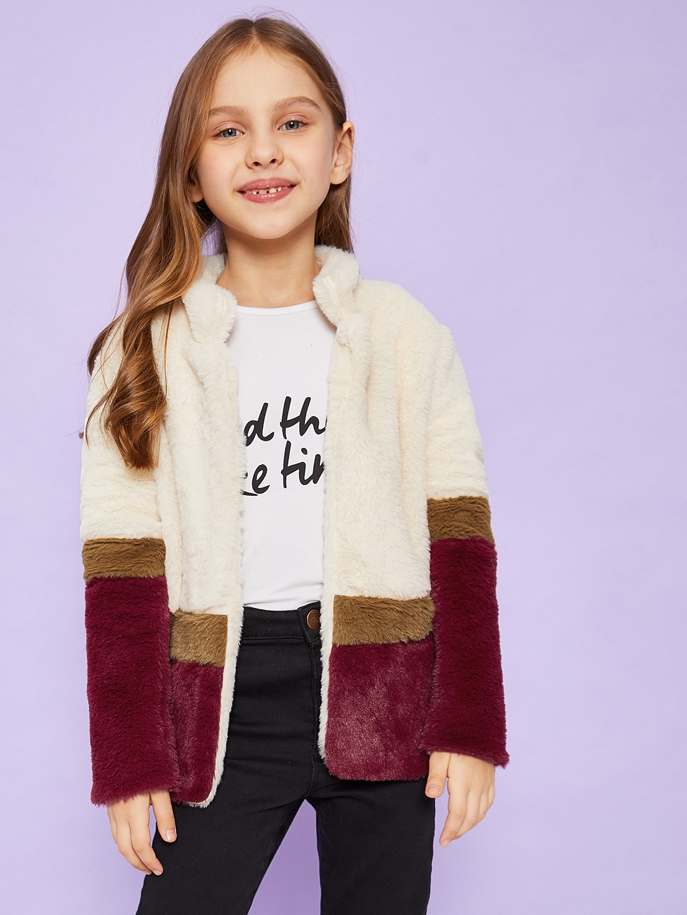 Girls Cut-And-Sew Teddy Coat Girls Cut-And-Sew Teddy Coat