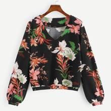SHEIN | V Neck Botanical Print Sweatshirt | Goxip