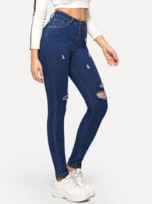 Contrast Stitch Ripped Detail Skinny Jeans