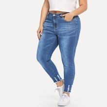 Plus Ripped Detail Raw Hem Jeans