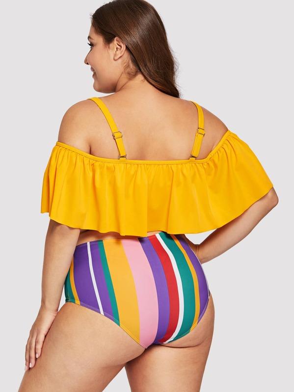 72f47e580b5d9 Plus Bardot Top With Striped High Waist Bikini   SHEIN
