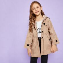 Toddler Girls Single Breasted Hooded Outerwear