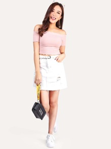 White Ripped A Line Denim Skirt