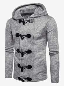 Men Buckle Detail Hooded Sweater Coat