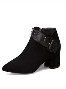 Studded Decor Suede Ankle Boots