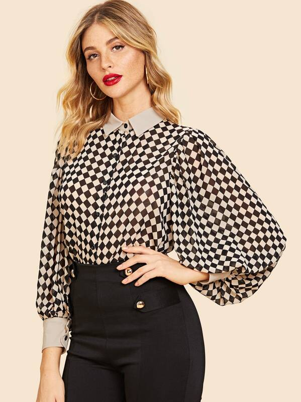 62e2a8c8cd Cheap 70s Bishop Sleeve Checkerboard Blouse for sale Australia | SHEIN