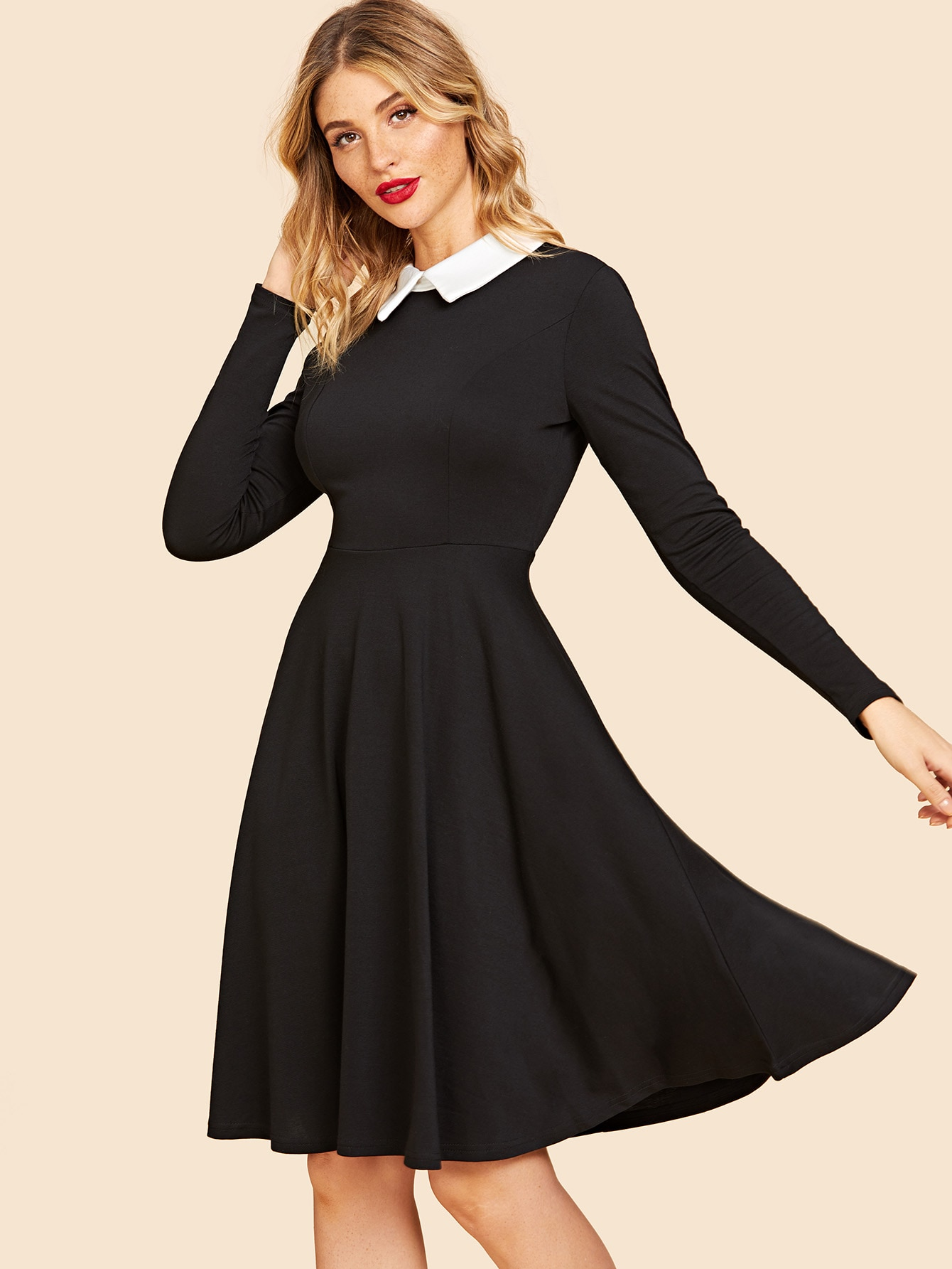 50s Contrast Collar Flare Dress 50s Contrast Collar Flare Dress