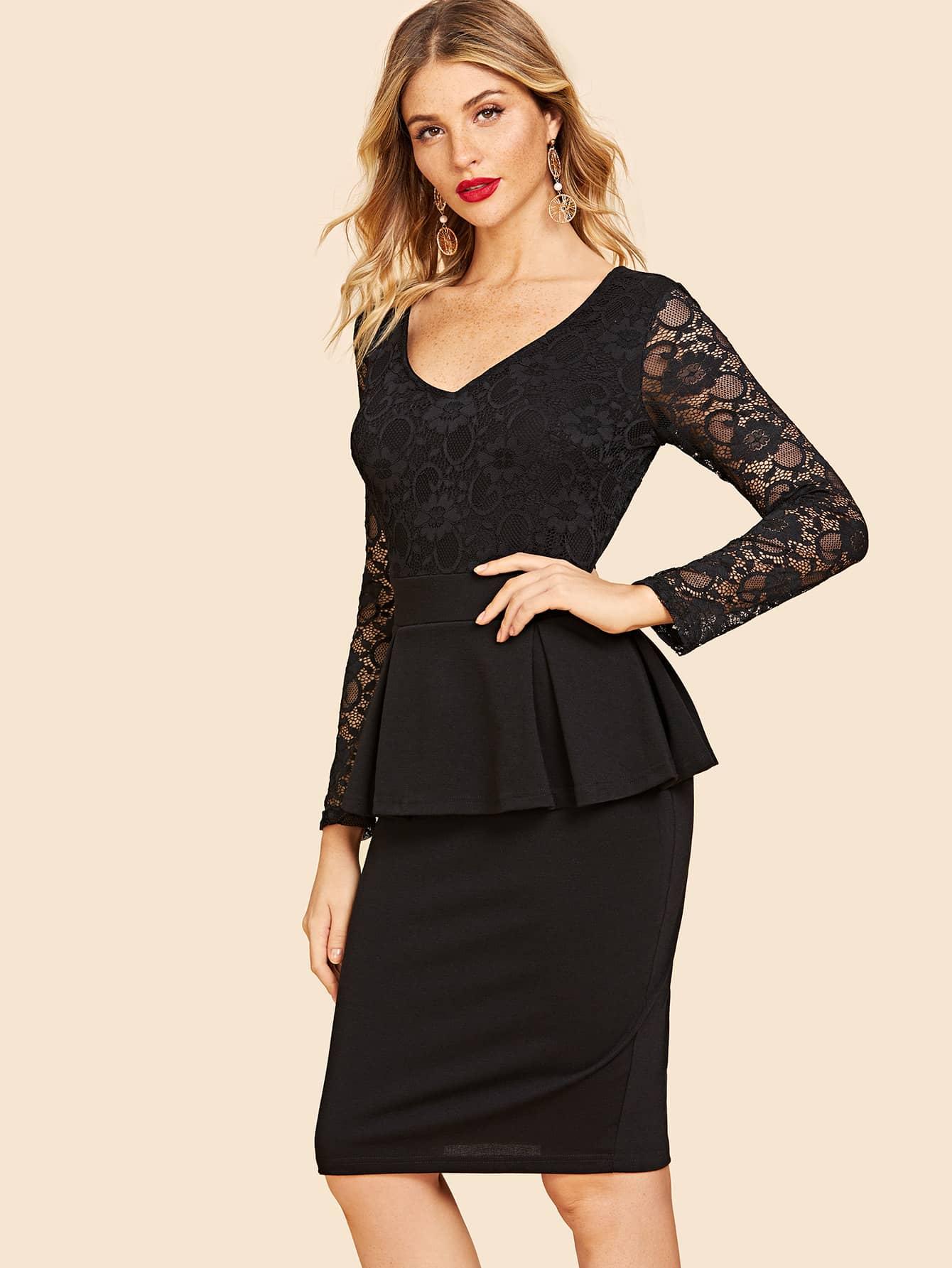 50s Contrast Lace Peplum Dress 50s Contrast Lace Peplum Dress