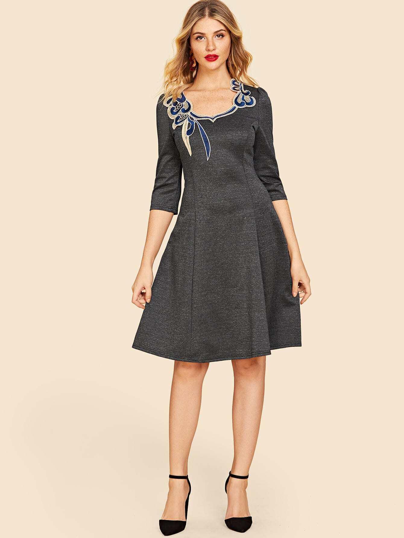 50s Appliques Zip Back Dress 50s Appliques Zip Back Dress