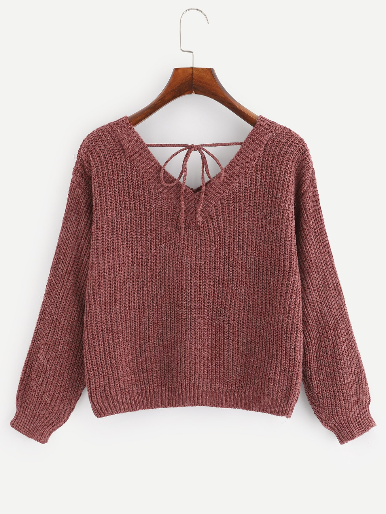 V Neck Knot Detail Sweater by Romwe